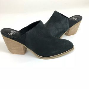 Shellys London Black Suede Leather Mules NWOB 8